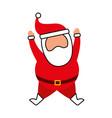 christmas happy santa claus jumping celebration vector image vector image