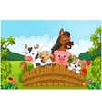collection farm animals in forest vector image vector image