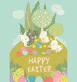 cute easter bunnies and easter egg happy holidays vector image vector image