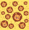 cute lion yellow seamless pattern vector image vector image