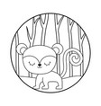 cute monkey animal in forest vector image vector image