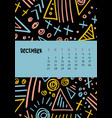 december colorful monthly calendar for 2020 year vector image