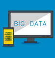 desktop computer with big data icons vector image