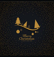 elegant golden christmas greeting with hanging vector image vector image