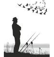 fisherman on lake vector image