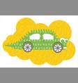 flat cartoon dino car vector image