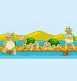 four turtles on wooden bridge vector image vector image