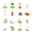 golf game equipment and signs icons set isometric vector image
