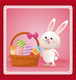 happy easter bunny egg decorative celebration vector image vector image