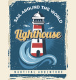 lighthouse poster nautical retro placard with vector image vector image