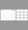 monthly planner template year calendar notes grid vector image