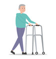 old man walking using walker isolated vector image vector image