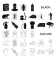 pest poison personnel and equipment black icons vector image