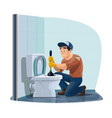 plumber profession man cleaning toilet vector image