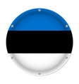round metallic flag of estonia with screws vector image