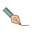 school education fountain pen designer supply line vector image