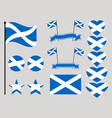 scotland flag set collection of symbols heart vector image