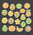 set colorful fruits jam icons vector image