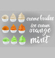set creme brulee vanilla orange mint kiwi ice vector image