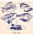 set of hand drawn fish dishes vector image vector image