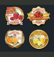set of organic fruit golden labels vector image vector image