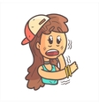 Shaking Scared Girl In Cap Choker And Blue Top vector image vector image