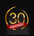 template gold logo 30 years anniversary with red vector image vector image