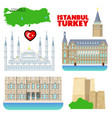 turkey istanbul travel set with architecture vector image