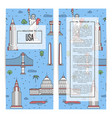 usa traveling flyers set in linear style vector image vector image