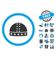 Warrior Helmet Flat Icon with Bonus vector image