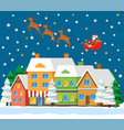 winter holiday card with santa and house vector image