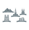 world architectural attractions stylized flat vector image