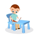 Young boy with glasses reads sitting at a school vector image vector image