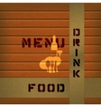 menu on wooden background with tape vector image
