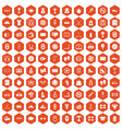 100 basketball icons hexagon orange vector image vector image