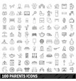 100 parents icons set outline style vector image