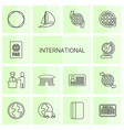 14 international icons vector image vector image