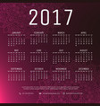 2017 new year calender in purple background and vector image vector image