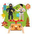 abstract virtual combat mobile game flat vector image