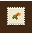 Acorn with leaf stamp Harvest Thanksgiving vector image vector image