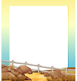An empty paper with a fence and rocks at the vector image vector image