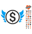 angel investment icon with love bonus vector image