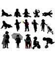 babies and toddlers silhouettes vector image vector image