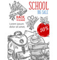 back to school sketch autumn sale poster vector image vector image