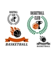 Basketball game emblems and symbols vector image vector image