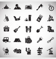 camping icons set on white background for graphic vector image vector image