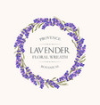 card with lavender wreath vector image vector image