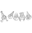 cartoon of five kids children with party hats vector image