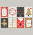 christmas hand drawn card set christmas hand vector image vector image
