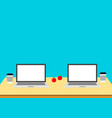 co working 2 laptops on table workplace vector image vector image
